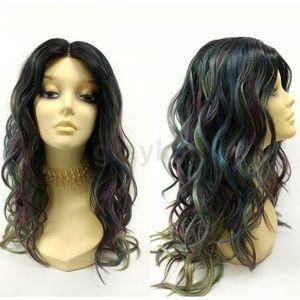 Oil Slick Blue green lace front Heat Safe Wig